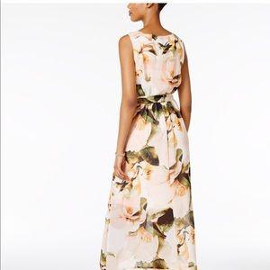 Chiffon Floral Faux-Wrap Maxi Dress